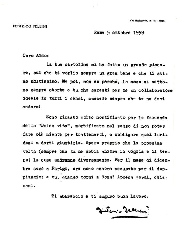 Lettera di Federico Fellini ad Aldo Buzzi del 5 ottobre 1959