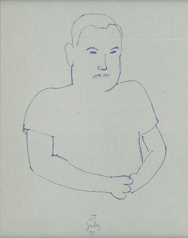 Ritratto di Aldo Buzzi realizzato da Saul Steinberg nel 1981