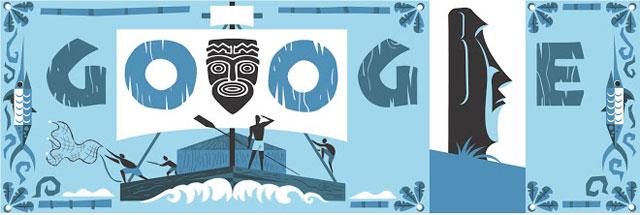 Il doodle di Google per Thor Heyerdahl